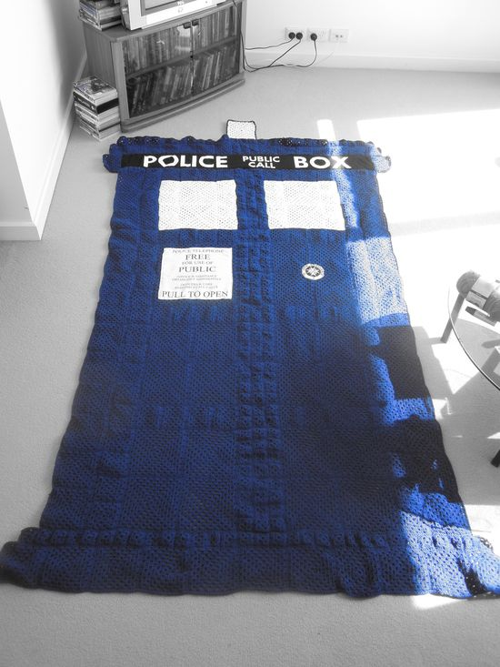 Crocheted TARDIS blanket