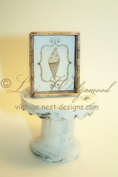 Ice Cream Cone No.2 Framed Print Chocolate Pink Mini Doll House - Vintage Nest Designs, Creative Handmade and Hand Painted Designs