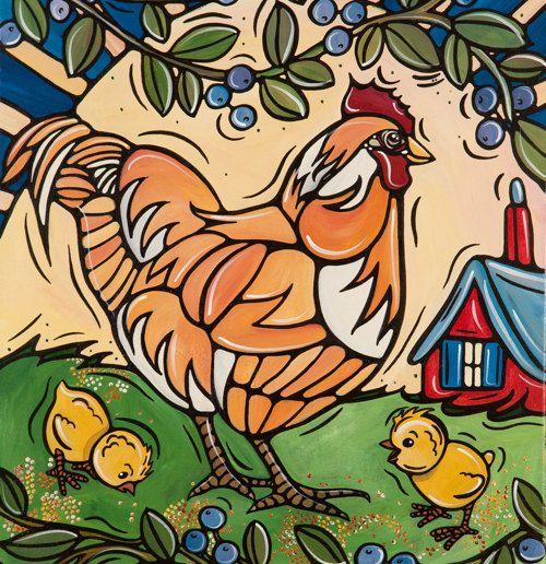 Happy Chicks Art Print Illustration Kitchen Decor by VeroGodbout