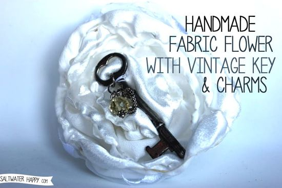 Handmade Fabric Flower with Vintage Key and Charms