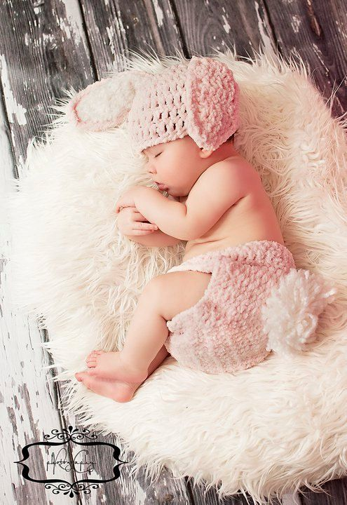 Little girl is already past the newborn stage, but this bunny outfit is so cute!