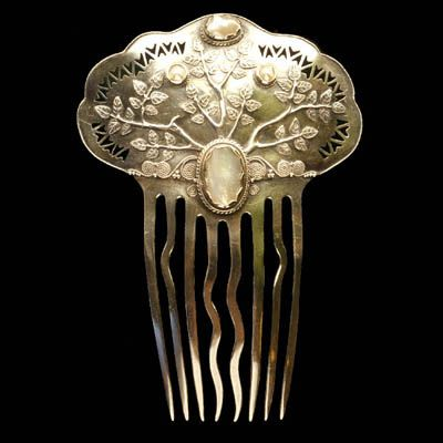 arthur and georgie gaskin.silver.jewelry.silver comb with pearls