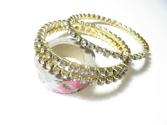 Gold crystal bangle by KrysthleDesigns on Etsy, $30.00