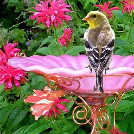 GARDEN BIRD BATH stained glass copper pink by GloriasGlassGarden