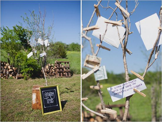 Giving Tree Or Money Tree...such a cute idea for an outdoor wedding!