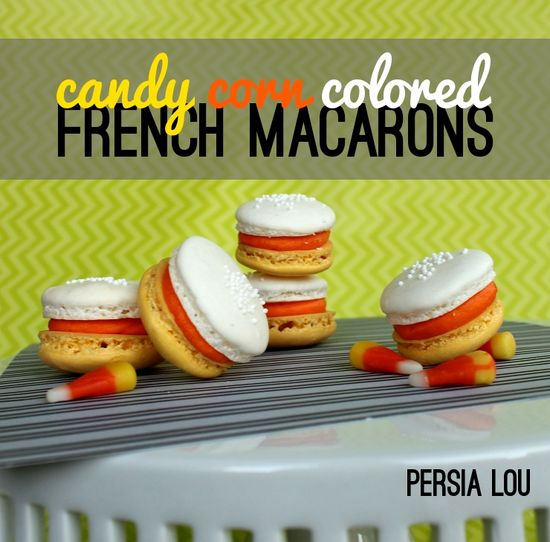 Candy Corn Colored French Macarons