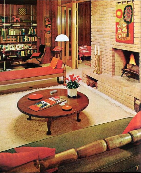Midcentury Modern Architecture Interior Design Decor 60s. Warm Fall Colors