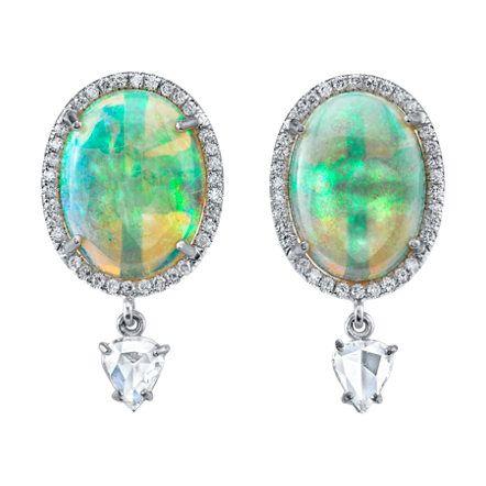 Irene Neuwirth Crystal Opal Rose Cut Diamond Drop Earrings