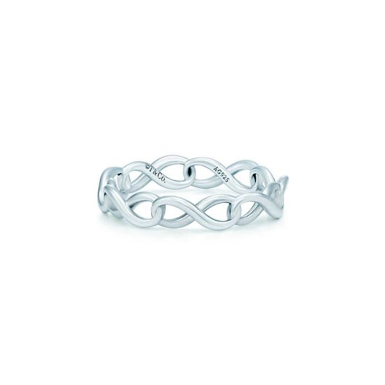 Tiffany Infinity narrow band ring in sterling silver.