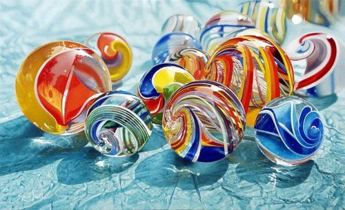 Contemporary handmade marbles - so pretty!