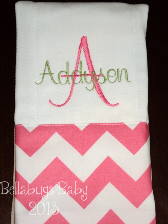 Chevron Personalized Monogrammed Baby Burp Cloth...Perfect for a Girl Baby Shower. $9.99, via Etsy.