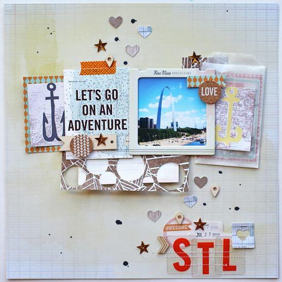 #papercraft #scrapbook #layout  #travel    Scrapbook Circle » Ideas » Adriennes Lets Go Ideas
