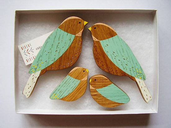 Wooden Wall Birds Family Sets by @AnnaWiscombe on Etsy,  #oak #wood #bird #decoration #retro #modern #display