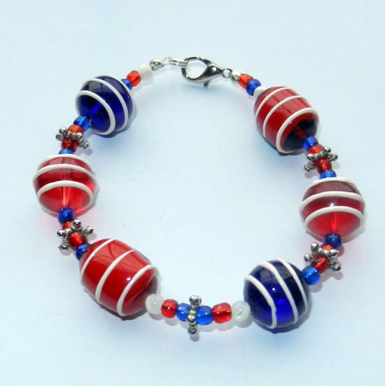 Beaded Red White and Blue Bracelet by CloudNineDesignz on Etsy, $12.00