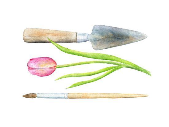 Trowel Paintbrush Watercolor Painting  by trowelandpaintbrush, $25.00
