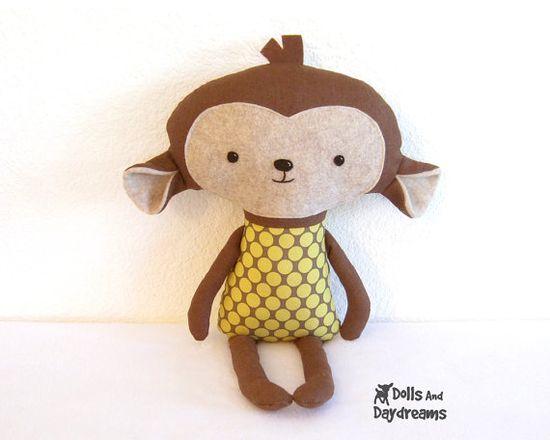 Monkey PDF Sewing Pattern Softie Stuffed Toy by DollsAndDaydreams,