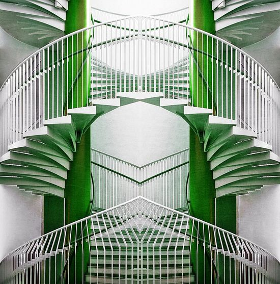 green & white stairs