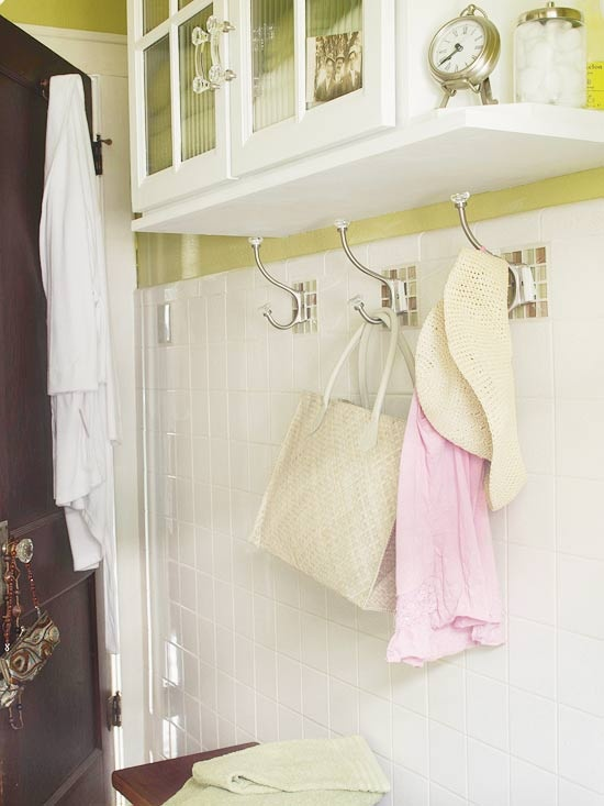 By using hooks, you can give each person a designated spot for a towel, rather than compete for limited space on a towel bar.