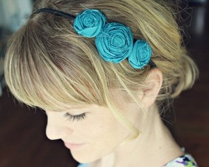 Bridesmaid Hair?  large three musketeers rosette headband {choose your color}  via Allora Handmade