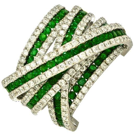 Emerald & Diamond Twisted Ring