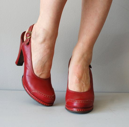 vintage 1940s shoes / red 40s shoes / Aces All the by DearGolden, $136.00