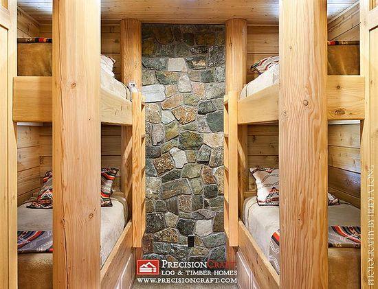Custom Log Home Bunk Room