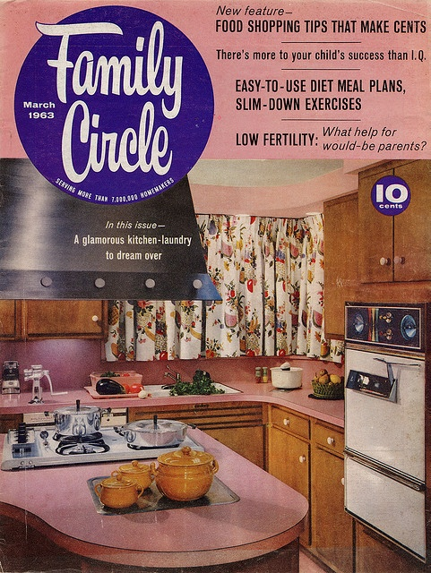 Love the pink counters in this charming early 60s kitchen. #vintage #1960s #kitchen #decor