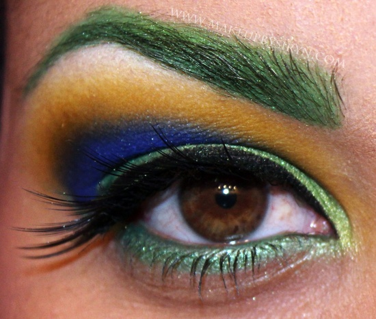 Eye makeup.  Peacock
