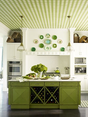 Green Cabinets... @MaryJean Taylor, think I could pull this off on my island? Fab ceiling too!!!