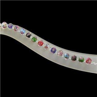 7mm Multi Inside Color Rose Glass Beads Strand