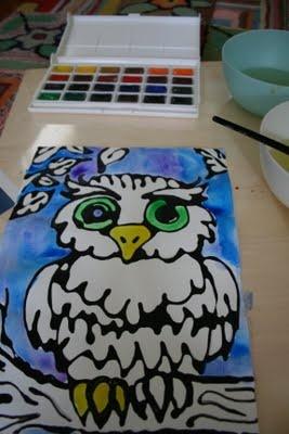 black glue watercolor project