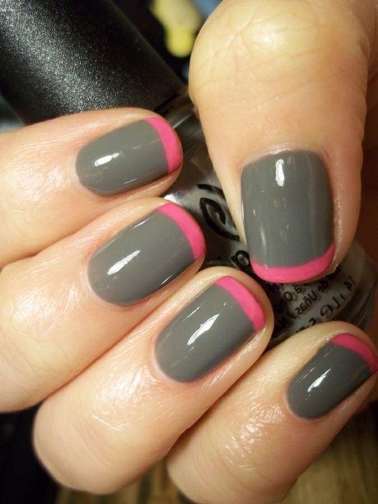 grey + pink french manicure #nail #art