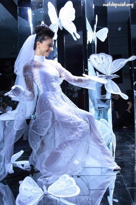 White Wedding Ao Dai.   Ao dai Lotus