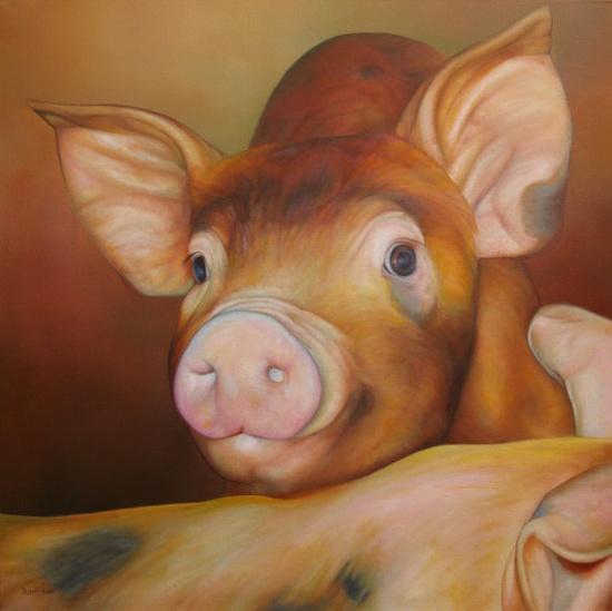 Sam Dolman Pig Animal Limited Edition Print by sdolman on Etsy, $39.00