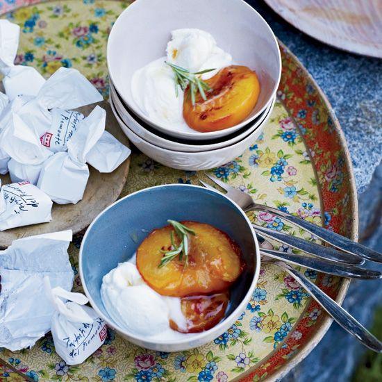 Roasted Peaches with Mascarpone Ice Cream // More Delicious Peach Recipes: preview.foodandwi... #foodandwine