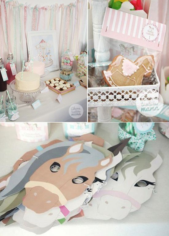 Vintage Carousel themed birthday party with SO many cute ideas! Via Karas Party Ideas KarasPartyIdeas.com #carousel #horse #vintage #party #ideas #birthday #cake #decor #idea