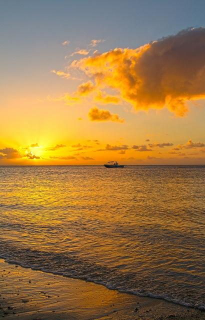 Sunset in yellow - Mauritius.   ASPEN CREEK TRAVEL - mailto:karen@aspe...