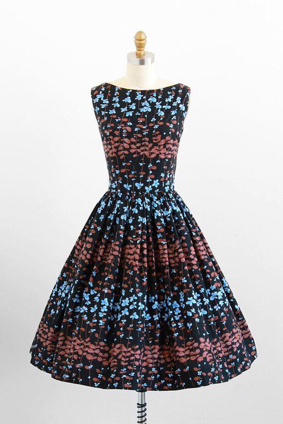 vintage 1950s black, blue, + brown floral day dress.