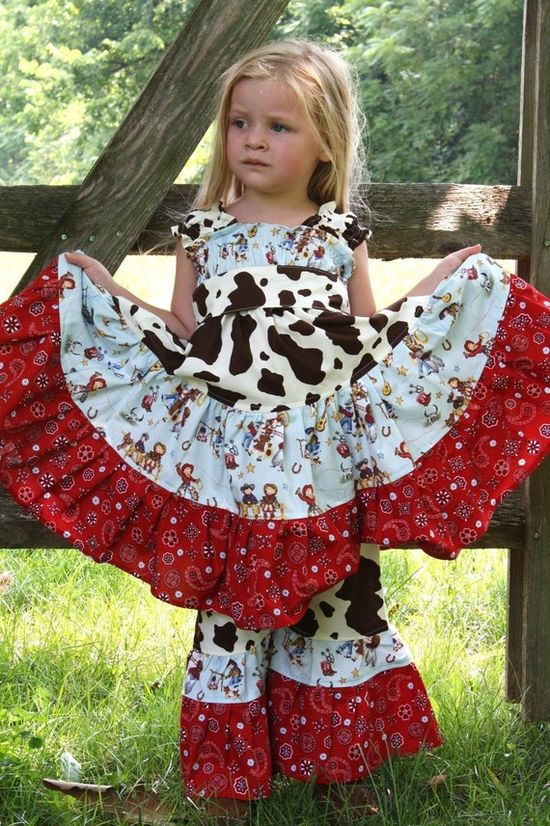 Cowboy/girl dress - cute mix of fabrics
