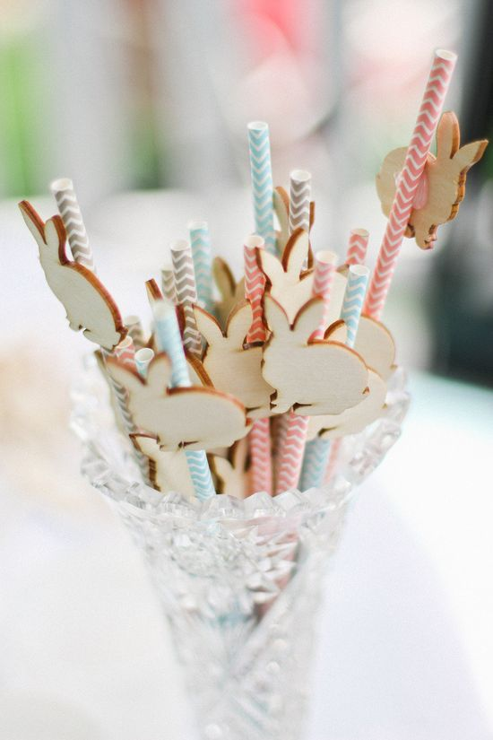 Adorable wooden bunny straws for Easter