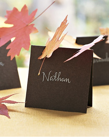 Thanksgiving leaf place cards via Martha Stewart