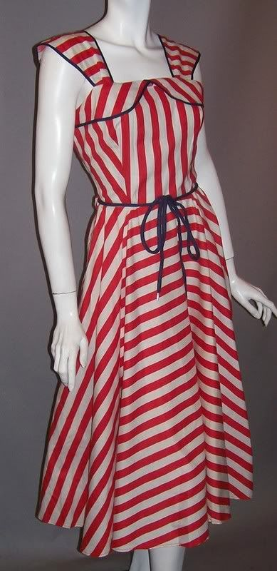 Red and white striped 1940s dress with blue trim.