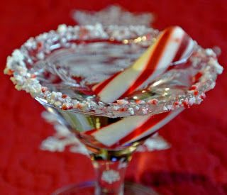 Candy Cane Martini:   2 oz. Vodka,  2 oz. Peppermint Schnapps,  2 oz. Whipped Cream Vodka  Ice  One Peppermint stick or Candy Cane ?