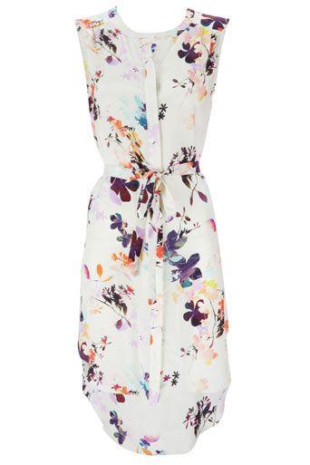 White Floral Print Shirt Dress