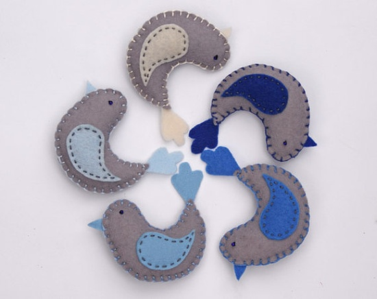 felt birds in grey, navy, pastel blue