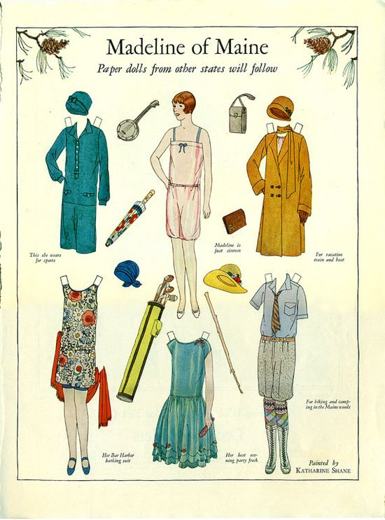 Womens Home Companion Magazine Paper Doll Madline of Maine, September 1927