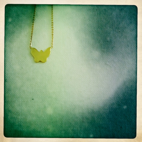 butterfly necklace, 14 ct. gold, hand made