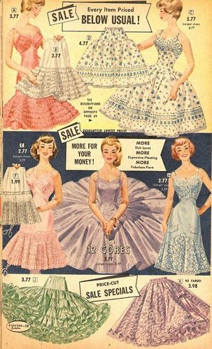 A lovely array of vintage crinolines. 1950s