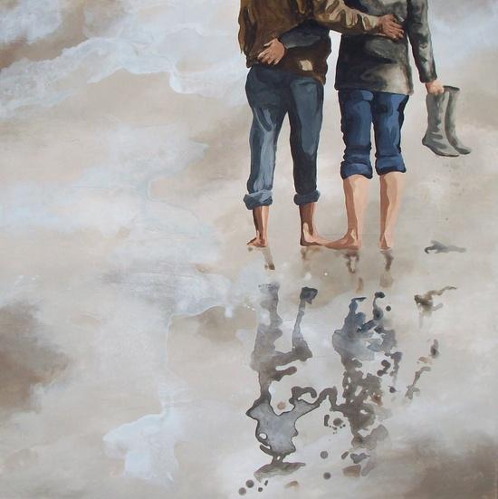 A couple walking on the beach. SAND - acrylic paint.