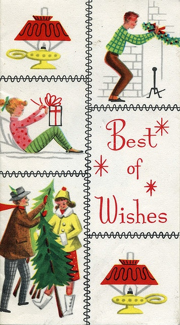 Vintage best of wishes Christmas card. #vintage #Christmas #cards